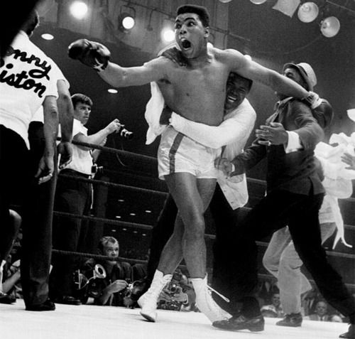 Feb. 25, 1964. Cassius Clay (later Mohammad Ali) defeats Sonny Liston in seven rounds for the world heavyweight championship.