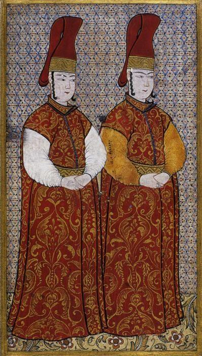 Ottoman court attendants. by the famed miniaturist Levni - early 1700s. Turkey