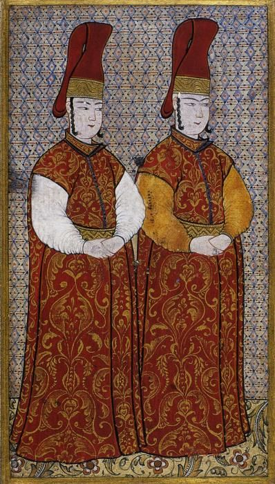 Ottoman court attendants. by the famed miniaturist Levni - early 1700s. Turkey