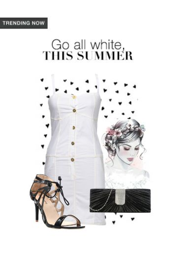 'Go all white this summer' by me on Limeroad featuring Solids White Dresses, Black Clutches with Black Sandals