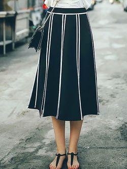 Black Stripes A-line Casual Slit Midi Skirt