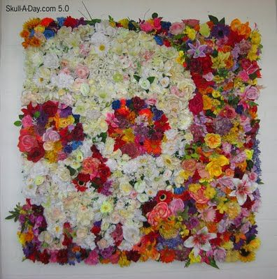Beautiful skull flower art. To use up all those random silk flowers!