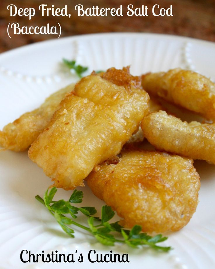 Light and crispy batter on baccala. Perfect for Lent.