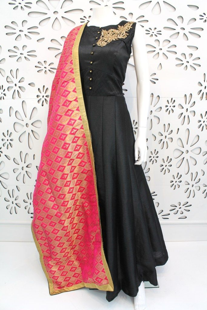 PalkhiFashion Exclusive Full Flair Black Soft Silk Outfit With Banarasi Duppata.
