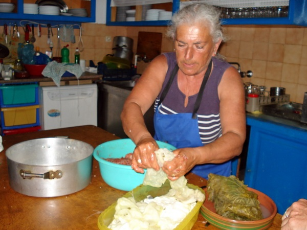The BEST dolmades in all the Aegean!  Mama Sevasti showed us how to make them in the afternoon - dolmades and swordfish steaks for dinner, yum !   (Kalymnos, Greece)