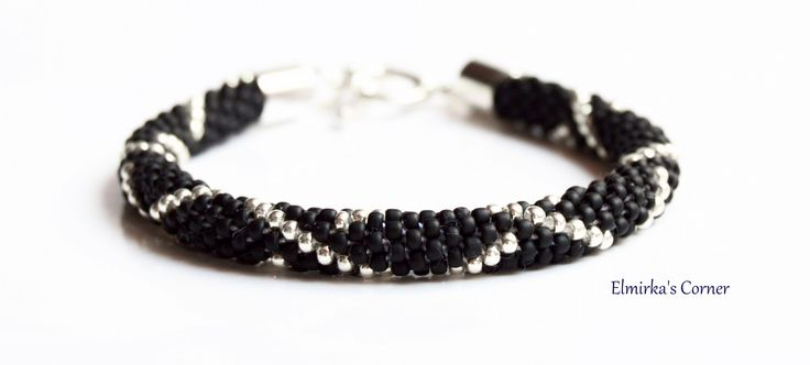 Matt black with white gold handmade bead bracelet see more: https://www.facebook.com/ElmirkasCorner/posts/853170371457050