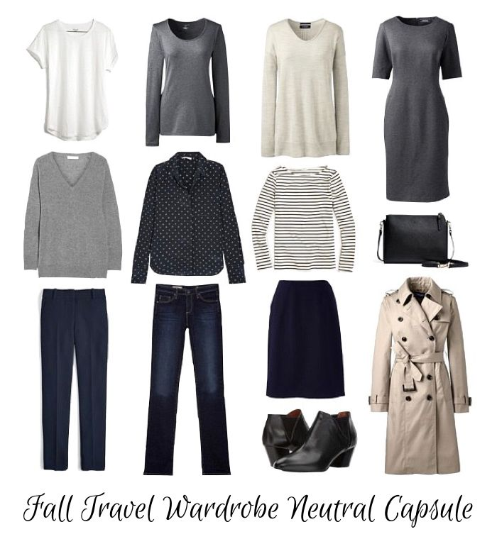 Fall travel wardrobe capsule in navy, grey and beige. Details at une femme d'un certain age.