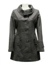 Ladies Charcoal Wool Blend Button Collar Pea Coat
