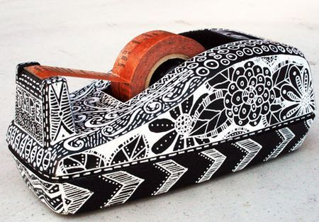 Zentangled Tape Dispenser using a Sharpie Poster-Paint Extra Fine White Marker