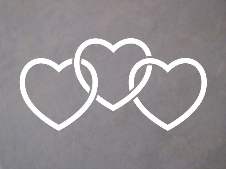 "Shop.SDSticker.com — 6"" Interlocking Heart Trio Decal"