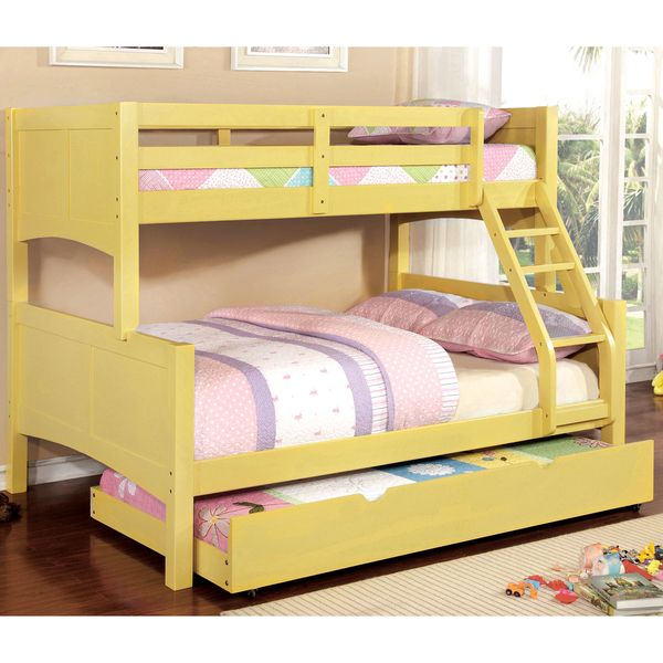Furniture of America Colorpop Twin over Full Modern 2-piece Bunk Bed with Trundle Set