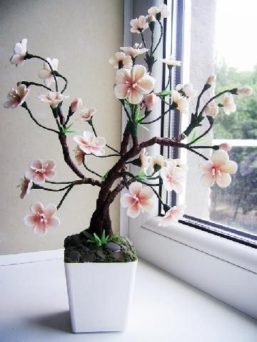 Little Tree w/ Cherry Blossoms. |  Cold Porcelain. ||  ♡ BEAUTIFUL! A