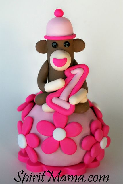 Pink flowers sock monkey birthday cake topper