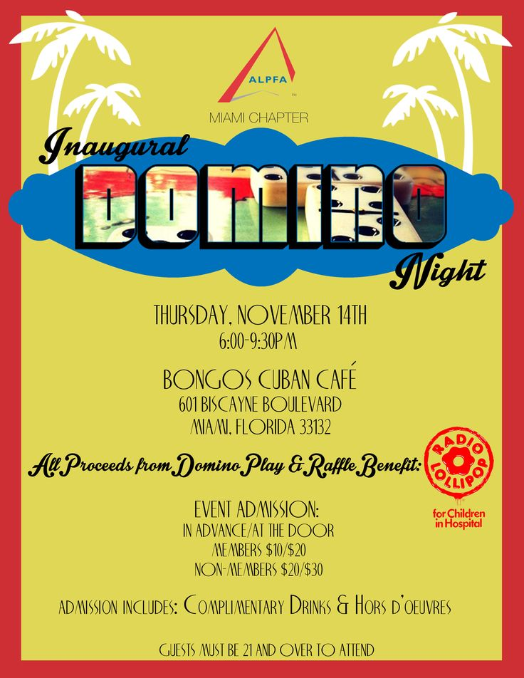 As part of its ALPFA Cares program, ALPFA Miami hosts its Inaugural Domino Night, a fundraiser to benefit Radio Lollipop. Be there for our first ever dominoes tournament, and help a worthwhile cause while playing this popular Latino game!  To register for this event, go to http://www.alpfamiami.org