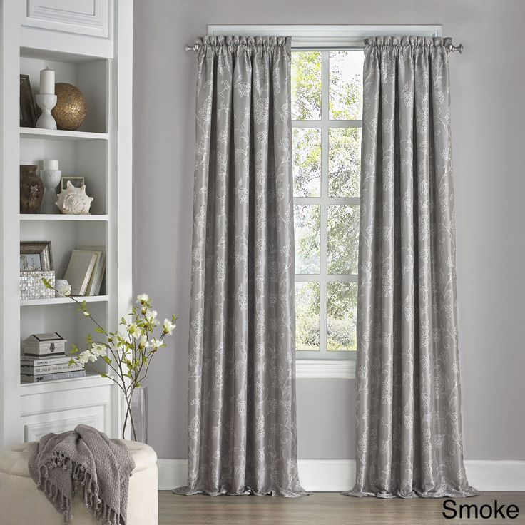 Eclipse Mallory Floral Blackout Window Curtain Panel (108 Inch Smoke),  Grey, Size