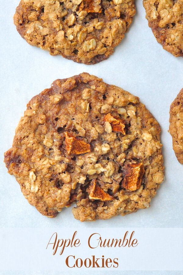 Apple Crumble Cookies - imagine a crispy edged, chewy centered oatmeal cookie with the added flavor of a fragrantly spiced apple crumble; just addictively delicious.