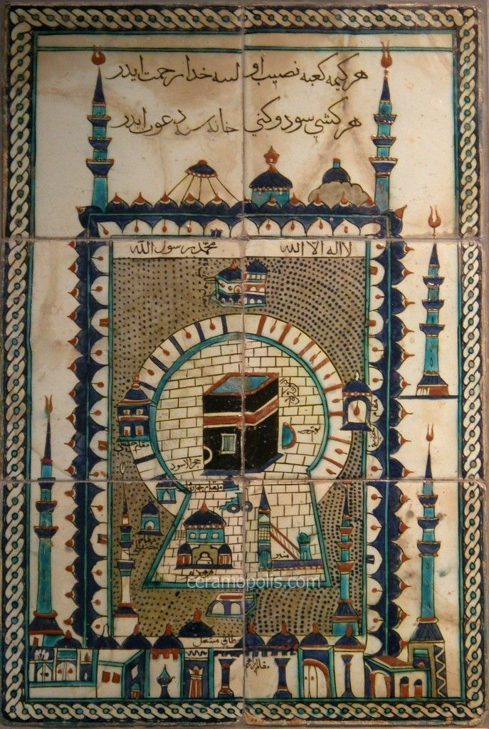 Iznik Tiles Theme – Representation of the Holly Shrine of Mecca  Iznik 17th Mecca – Benaki Islamic Museum Greece