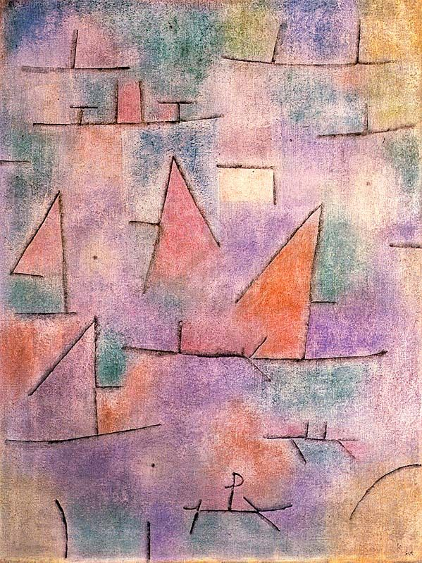 """Harbour with Sailing Ships,"" 1937, Paul Klee. Oil on canvas; 60 x 80 cm. Musée National d'Art Moderne, Centre Georges Pompidou, Paris."