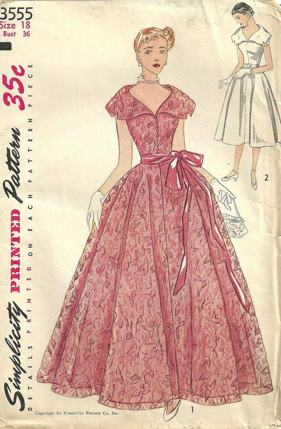 Простота 3555 / винтажный 1950-х выкройка шитье / вечерние платье / Размер 18…