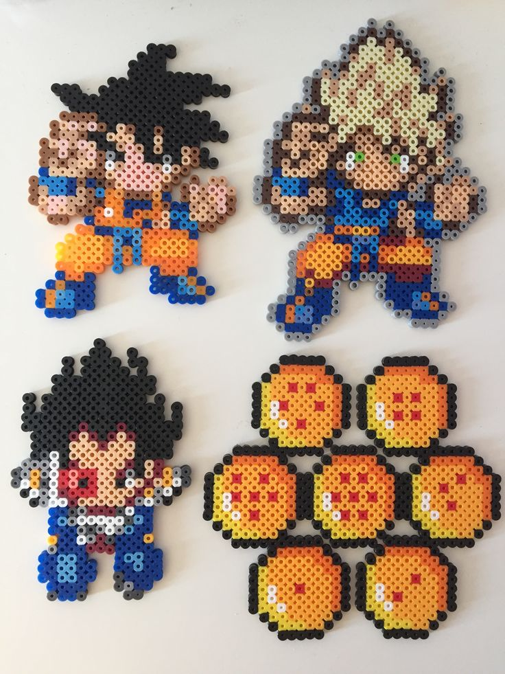 Dragon Ball Z (Goku, Super Saiyan Goku, Vegeta, Dragonballs) perler beads by Pixel Precious