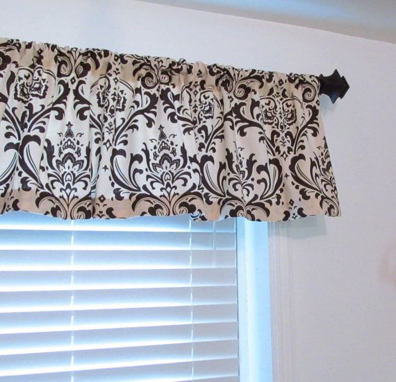 Handmade Curtain Valance made in Natural/Brown Damask. This listing is for one Valance in your choice of width & length including 2 1/2 rod pocket. If you need any different size please contact me for a special order. This window treatment looks equally great when flat or gathered and can