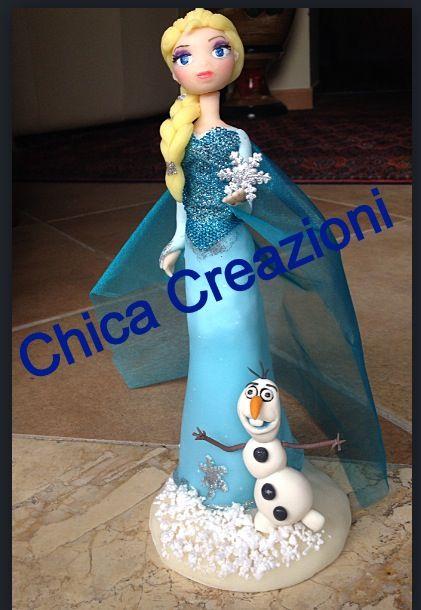 Frozen Elsa Olaf top cake in pasta di mais /porcellana fredda ❤️