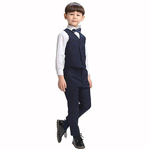 Frbelle Kinder Junge Anzug Hochzeitsanzug lang�rmelige Hochzeitbekleidungsset Dreiteilige Gentleman Kleidung Kinderanzug mit Bowknot