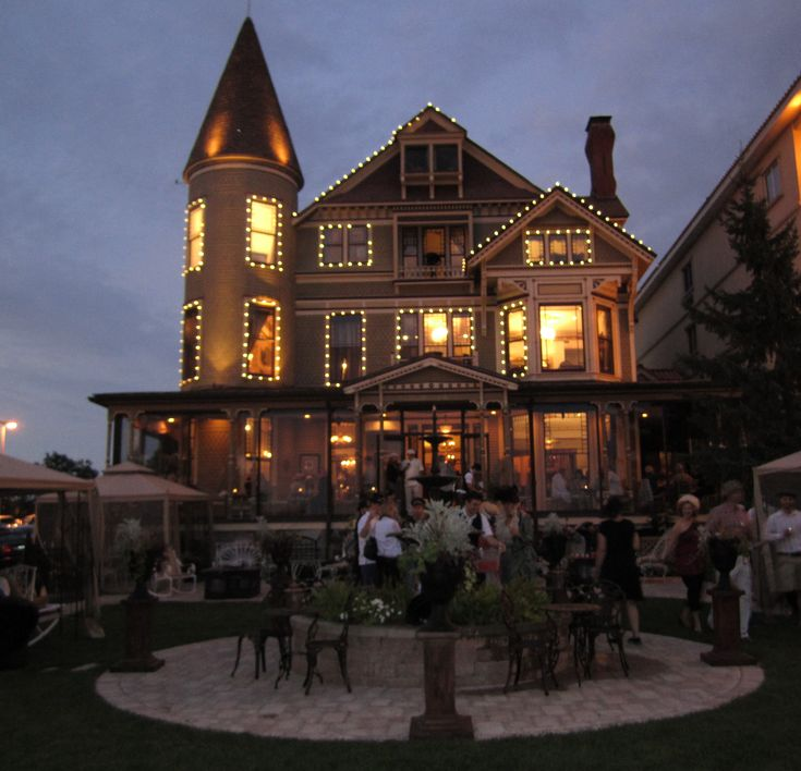 Baker House at Sunset - a nationally registered historic Queen Anne mansion, Lake Geneva, Wisconsin.