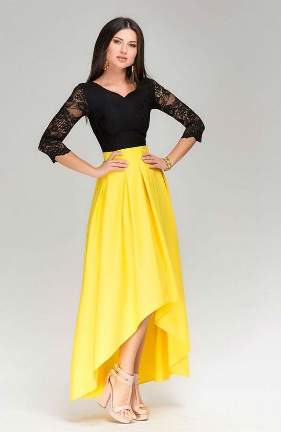 Chic Maxi Dress AssymetricalBlack Yellow Evening by FashionDress8