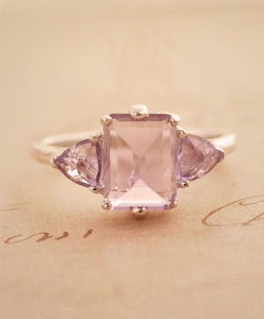 Pink Amethyst and Sterling Silver Engagement Ring