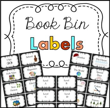Book Bin Labels ~ Book Bin LabelsBook Bin labels!These cute chalkboard book bin labels are fixed in size: 4in x 2 in (8 book bin labels per standard sheet of paper). There are 82 various book bin titles with pictures, and 6 blank versions that you can hand write on specific titles not found here.