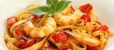 Pasta met knoflook, tomaat, basilicum en garnalen