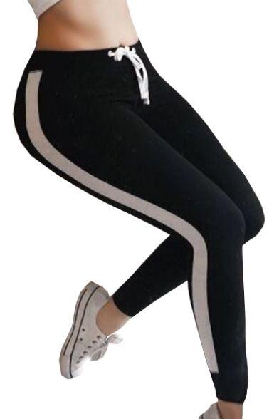 43f0257e47fb1e Color Block Drawstring Skinny Waist Sports Leggings #leggings  #beautifulhalo #legging leather leggings leggings