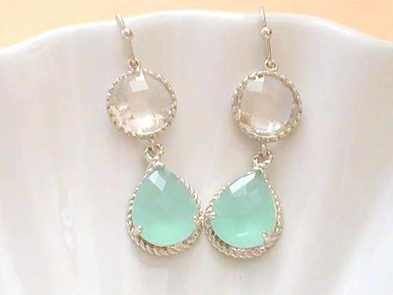 Blue Earrings- Tiffany Blue Wedding- Mint Earrins- Bridesmaid Gift ...