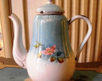 Enameled French COFFEE POT Hand painted ROSES - Edit Listing - Etsy