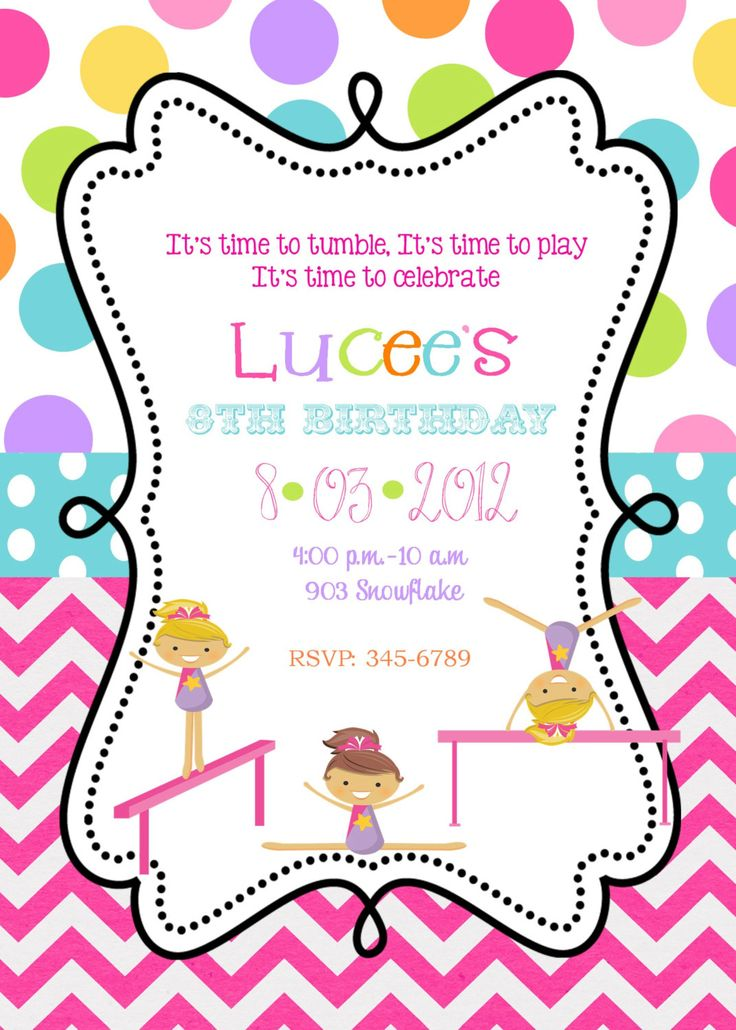 This is an image of Free Printable Gymnastics Birthday Invitations within happy birthday