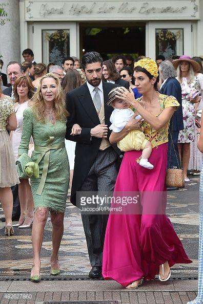Paola Marzotto, Carlo Borromeo and Marta Ferri are seen on August 1, 2015 in STRESA, Italy.