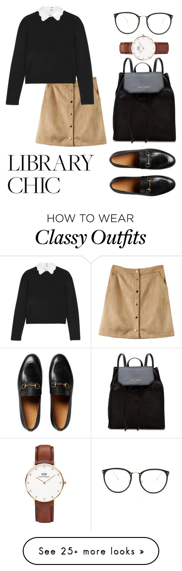 """""""Library Chic"""" by rainbow-spirit-teahouse on Polyvore featuring Alice + Olivia, Gucci, Daniel Wellington, Linda Farrow and Ted Baker"""