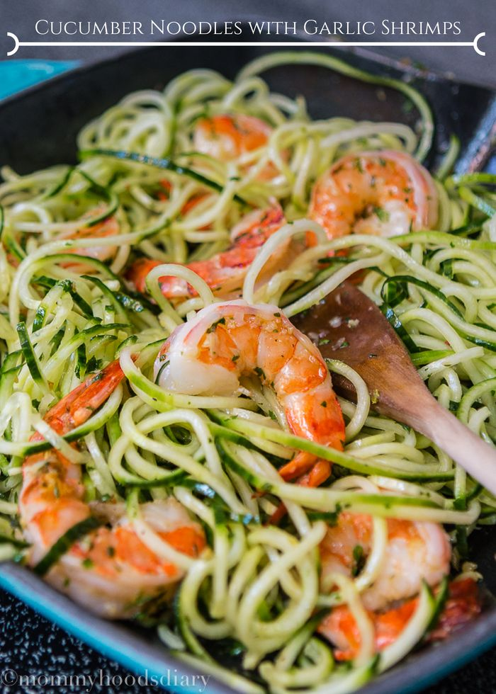 Cucumber Noodles with Garlic Shrimps - Mommyhood's Diary