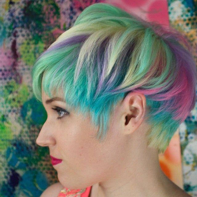 Best 25+ Rainbow hair highlights ideas on Pinterest | Colored ...