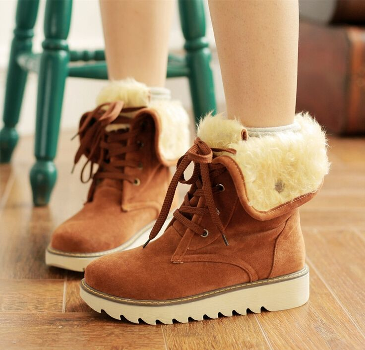 30.00$  Watch here - http://ali049.shopchina.info/go.php?t=32539468492 - 2017 new women boots slip tendon soled ugs winter women female round toe flat plush winter boots cross lace boots women 30.00$ #magazine