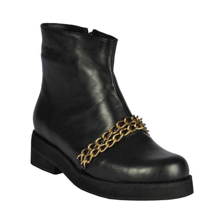 Botín de mujer chain, negro con cadena.