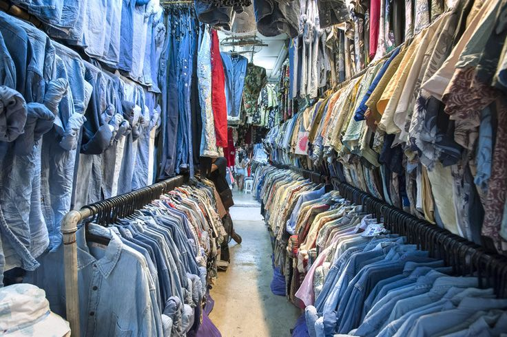 Always a huge selection of clothing is on offer at Bangkok night markets