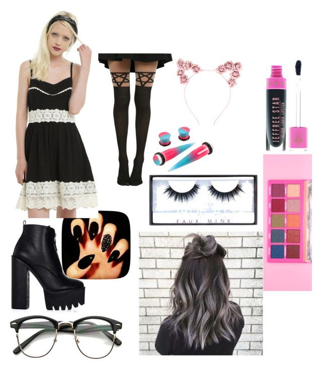 """""""Classy Goth🖤"""" by bambimie on Polyvore featuring mode, Hot Topic, Jeffree Star et Huda Beauty"""