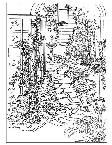 A Busy Line Art Image Of Garden With Flowers Arbor Path And Birdbath