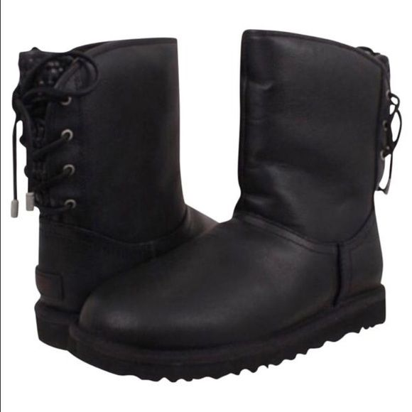 Brand new authentic black leather UGG boots New in box, US size 8 UGG Shoes Winter & Rain Boots