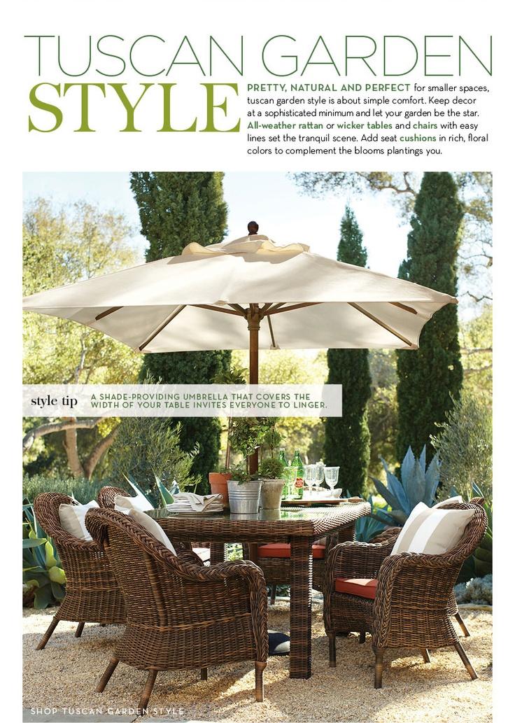 Diy Tuscan Backyard : Tuscan Garden Outdoor Style natural fabrics  green and white design
