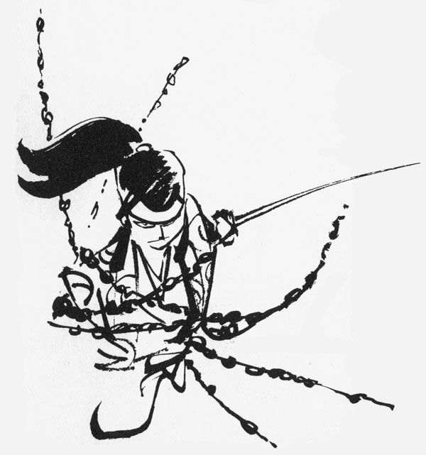 """Sketch for """"Ninja Bugeicho"""", 1957 by Sanpei Shirato"""