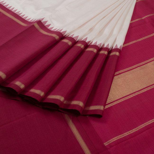 Sri Sagunthalai Silks White Handwoven Korvai Kanchipuram Silk Saree with Temple & Thandavalam Border 10007508 - profile - AVISHYA.COM