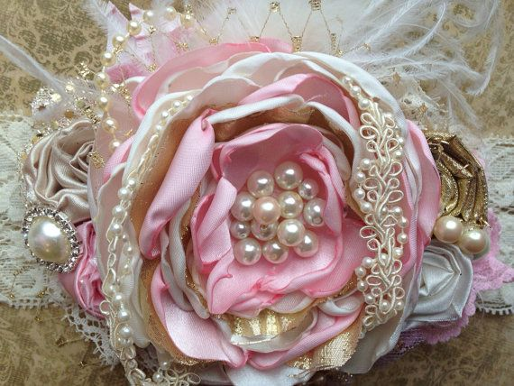 Pink Champagne Over the Top headband by ChloeRoseCouture on Etsy
